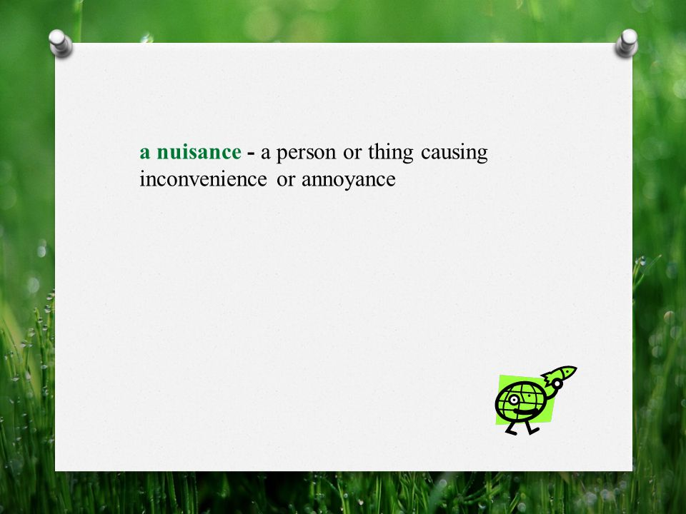 a nuisance - a person or thing causing inconvenience or annoyance