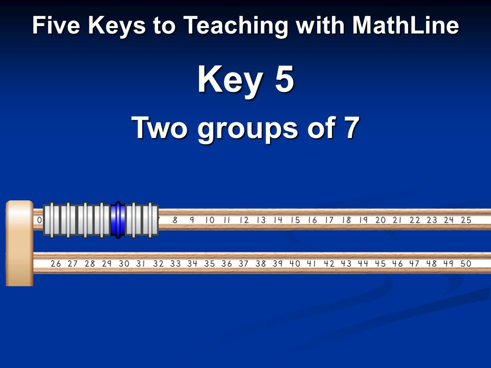 Five Keys to Teaching with MathLine Key 5 Two groups of 7