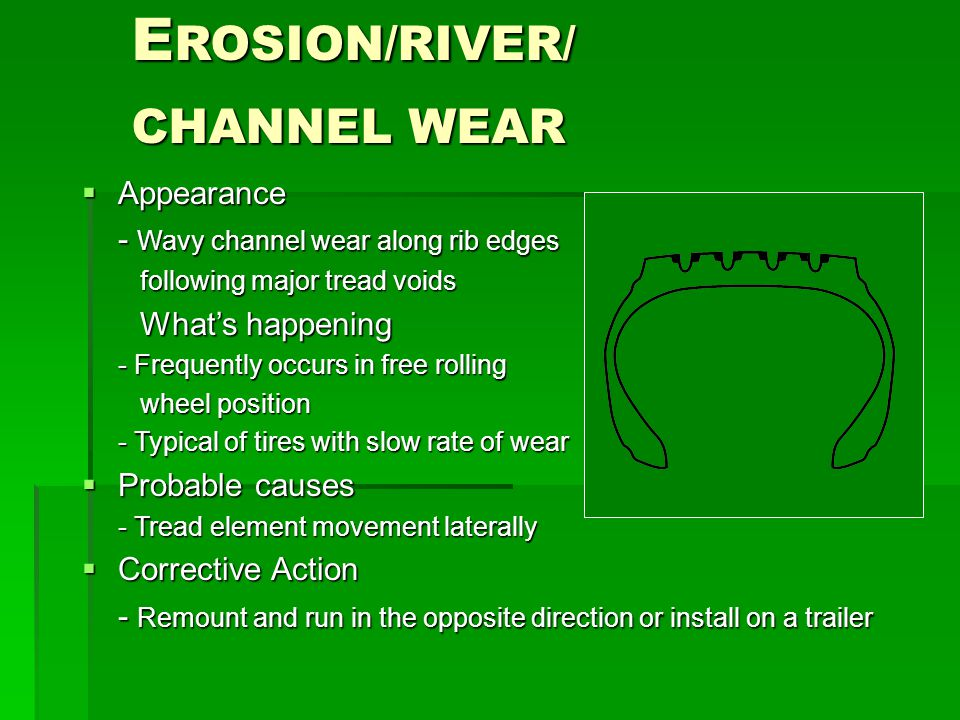 E ROSION/RIVER/ CHANNEL WEAR  Appearance - Wavy channel wear along rib edges following major tread voids following major tread voids What's happening What's happening - Frequently occurs in free rolling wheel position wheel position - Typical of tires with slow rate of wear  Probable causes - Tread element movement laterally  Corrective Action - Remount and run in the opposite direction or install on a trailer