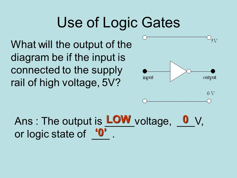 Use of Logic Gates What will the output of the diagram be if the input is connected to the supply rail of high voltage, 5V.