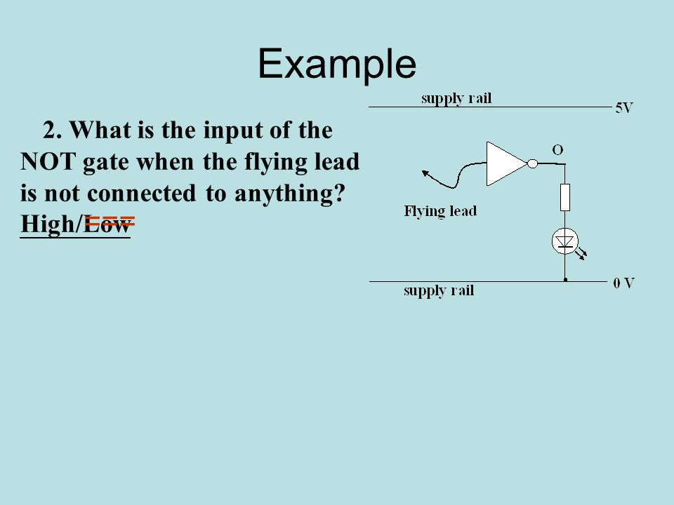 Example 2. What is the input of the NOT gate when the flying lead is not connected to anything.