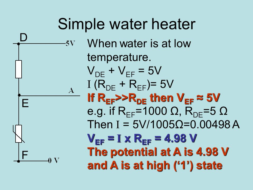 Simple water heater When water is at low temperature.
