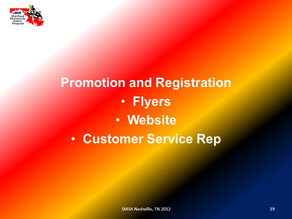 19SMSA Nashville, TN 2012 Promotion and Registration Flyers Website Customer Service Rep