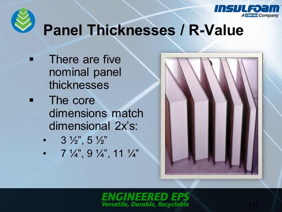 Panel Thicknesses / R-Value  There are five nominal panel thicknesses  The core dimensions match dimensional 2x's: 3 ½ , 5 ½ 7 ¼ , 9 ¼ , 11 ¼ 16