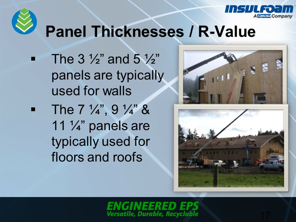 Panel Thicknesses / R-Value  The 3 ½ and 5 ½ panels are typically used for walls  The 7 ¼ , 9 ¼ & 11 ¼ panels are typically used for floors and roofs 17