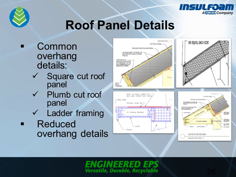 Roof Panel Details  Common overhang details: Square cut roof panel Plumb cut roof panel Ladder framing  Reduced overhang details 26