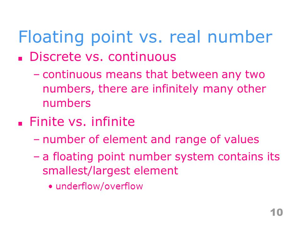 Floating point vs. real number Discrete vs.
