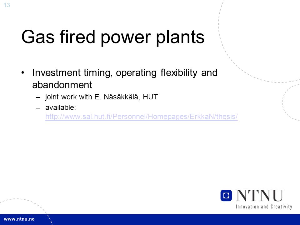 13 Gas fired power plants Investment timing, operating flexibility and abandonment –joint work with E.