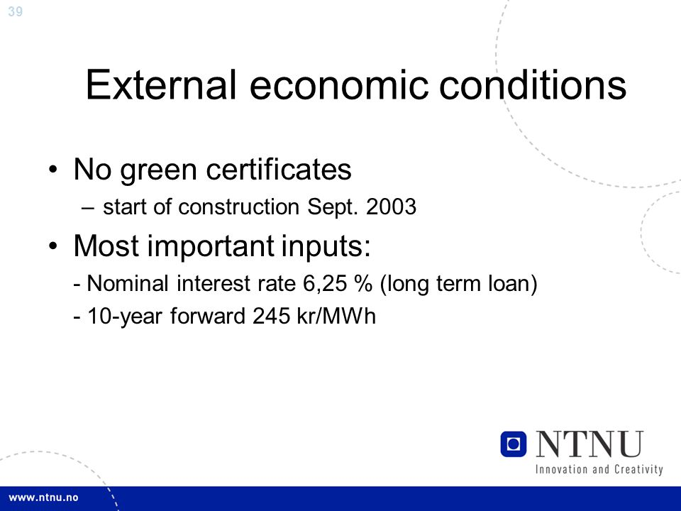 39 External economic conditions No green certificates –start of construction Sept.