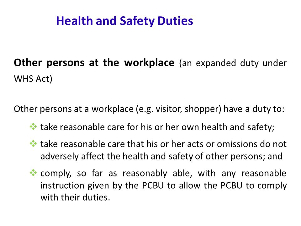 www.nsca.org.au16 Health and Safety Duties Other persons at the workplace (an expanded duty under WHS Act) Other persons at a workplace (e.g.