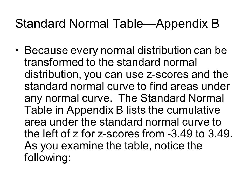 Standard Normal Table—Appendix B Because every normal distribution can be transformed to the standard normal distribution, you can use z-scores and the standard normal curve to find areas under any normal curve.