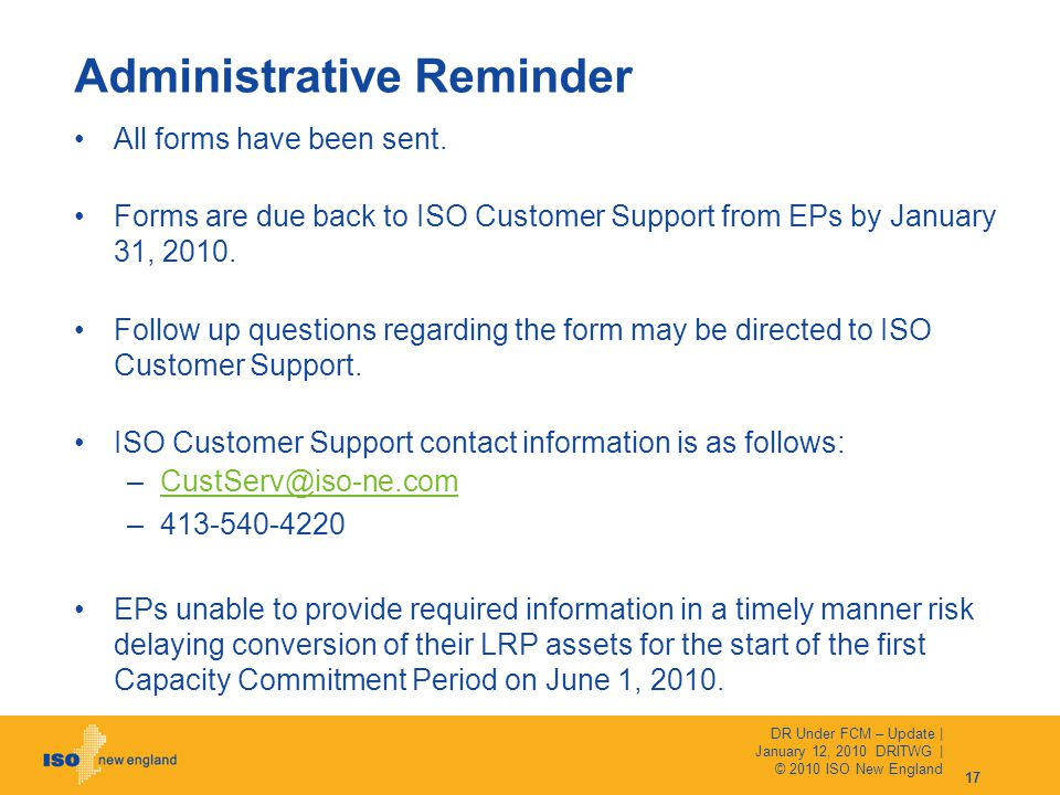 Administrative Reminder All forms have been sent.