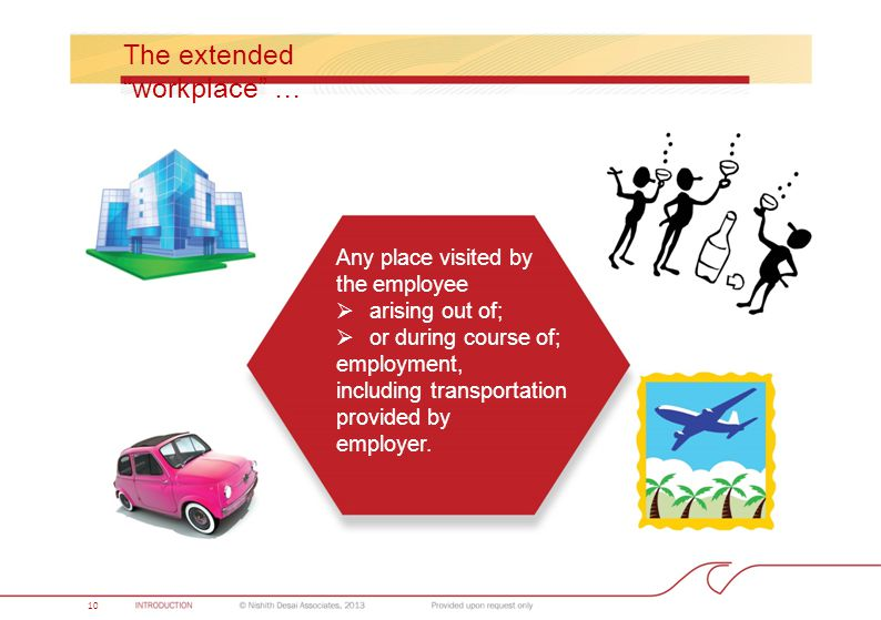 The extended workplace … Any place visited by the employee  arising out of;  or during course of; employment, including transportation provided by employer.
