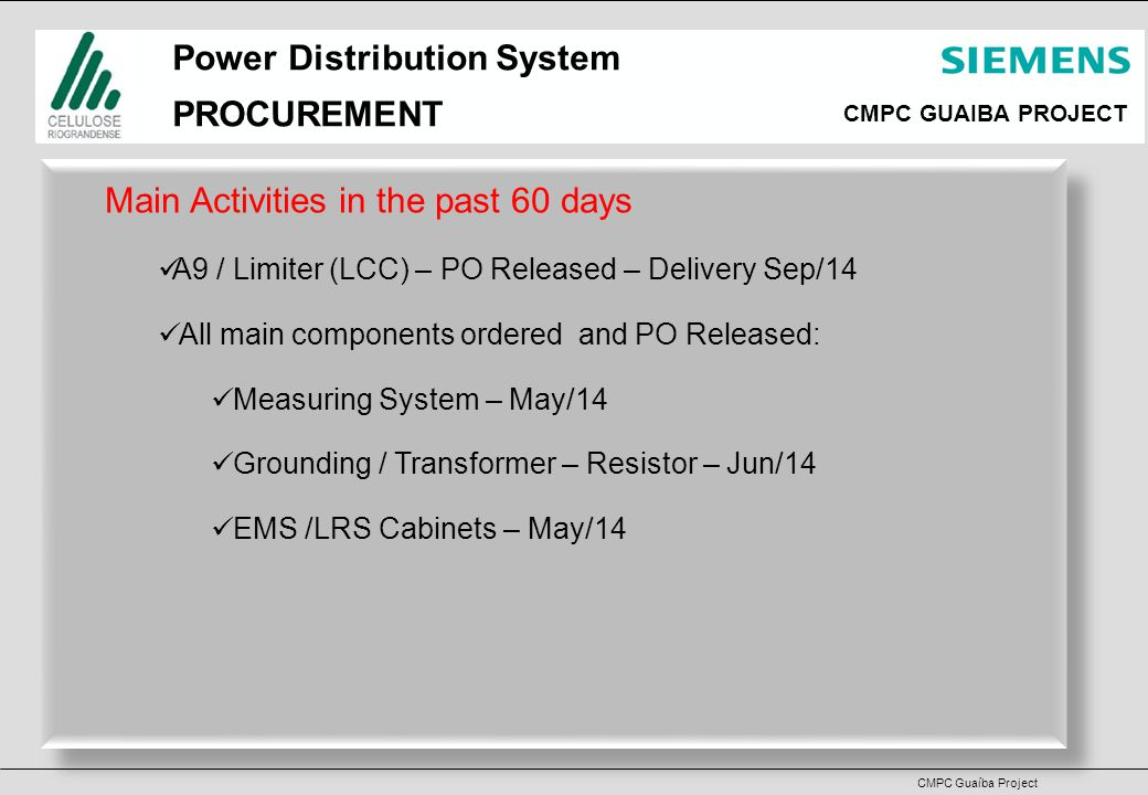 CMPC GUAIBA PROJECT CMPC Guaíba Project Power Distribution System PROCUREMENT Main Activities in the past 60 days A9 / Limiter (LCC) – PO Released – Delivery Sep/14 All main components ordered and PO Released: Measuring System – May/14 Grounding / Transformer – Resistor – Jun/14 EMS /LRS Cabinets – May/14 Main Activities in the past 60 days A9 / Limiter (LCC) – PO Released – Delivery Sep/14 All main components ordered and PO Released: Measuring System – May/14 Grounding / Transformer – Resistor – Jun/14 EMS /LRS Cabinets – May/14