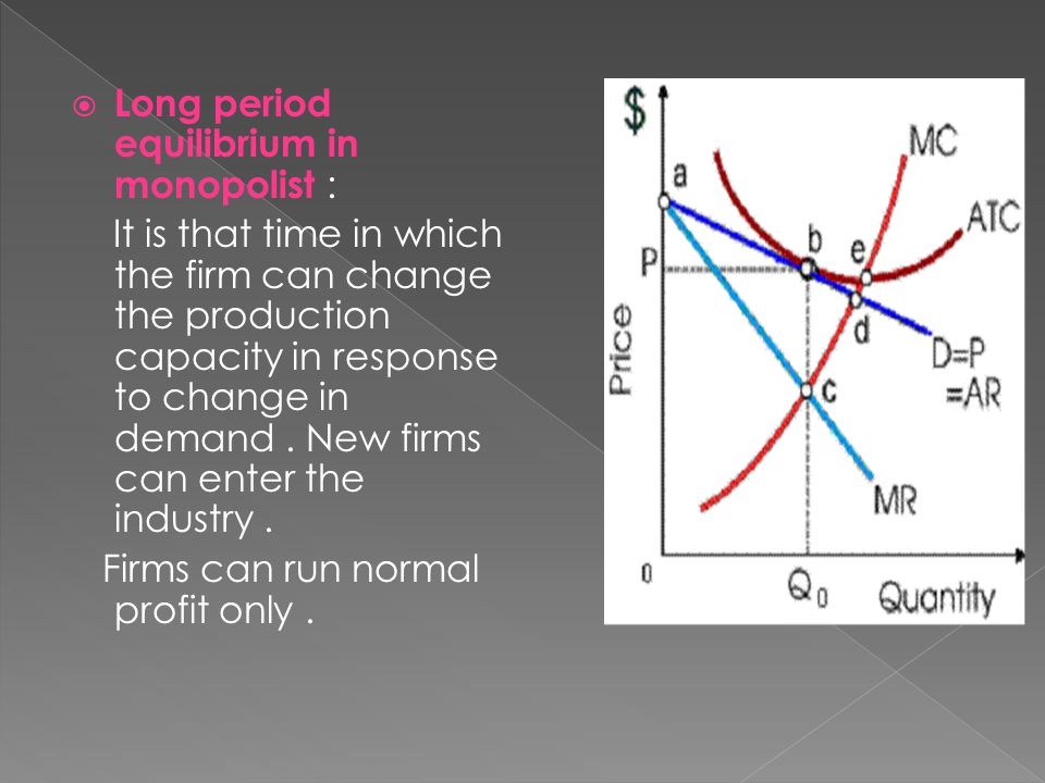  Long period equilibrium in monopolist : It is that time in which the firm can change the production capacity in response to change in demand.