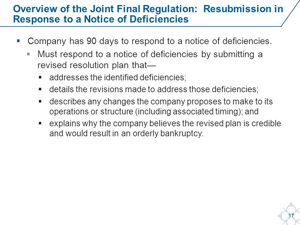 17  Company has 90 days to respond to a notice of deficiencies.