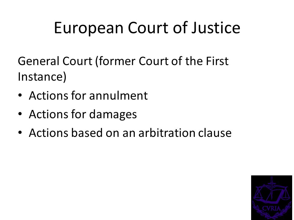 European Court of Justice General Court (former Court of the First Instance) Actions for annulment Actions for damages Actions based on an arbitration clause