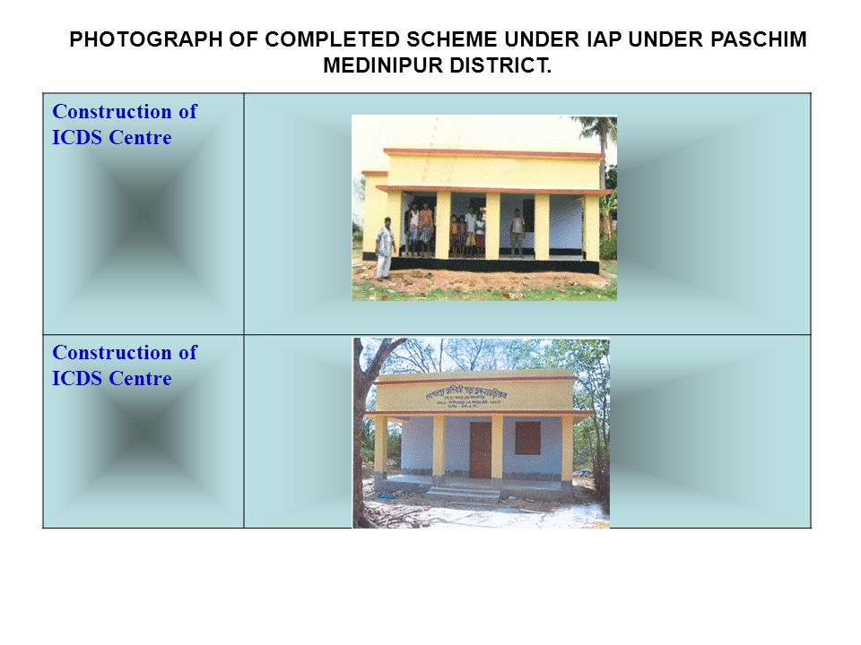 Construction of ICDS Centre PHOTOGRAPH OF COMPLETED SCHEME UNDER IAP UNDER PASCHIM MEDINIPUR DISTRICT.
