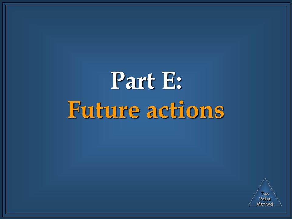 TaxValueMethod Part E: Future actions