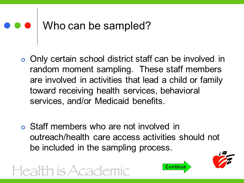 Who can be sampled. Only certain school district staff can be involved in random moment sampling.