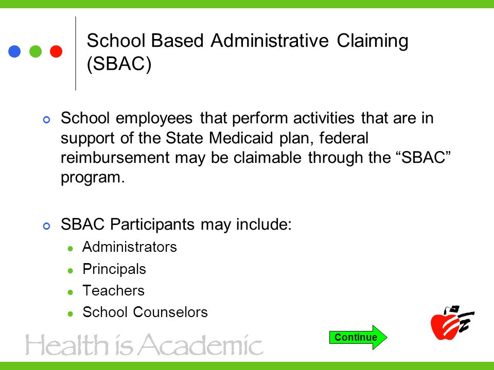 School Based Administrative Claiming (SBAC) School employees that perform activities that are in support of the State Medicaid plan, federal reimbursement may be claimable through the SBAC program.