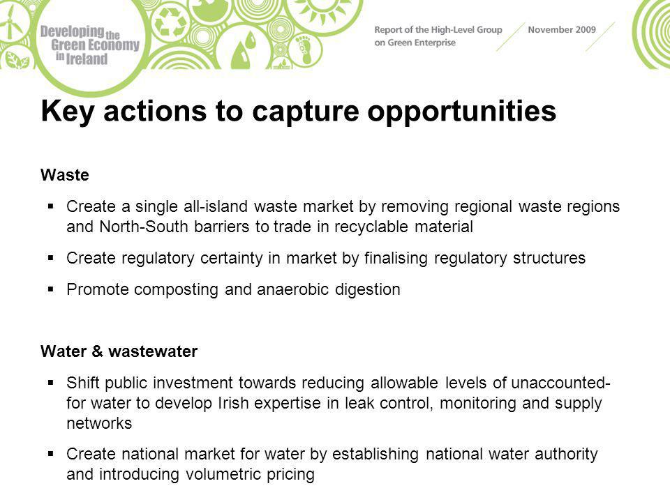 Key actions to capture opportunities Waste  Create a single all-island waste market by removing regional waste regions and North-South barriers to trade in recyclable material  Create regulatory certainty in market by finalising regulatory structures  Promote composting and anaerobic digestion Water & wastewater  Shift public investment towards reducing allowable levels of unaccounted- for water to develop Irish expertise in leak control, monitoring and supply networks  Create national market for water by establishing national water authority and introducing volumetric pricing
