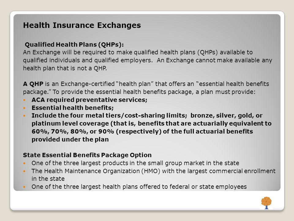 Health Insurance Exchanges Qualified Health Plans (QHPs): An Exchange will be required to make qualified health plans (QHPs) available to qualified individuals and qualified employers.