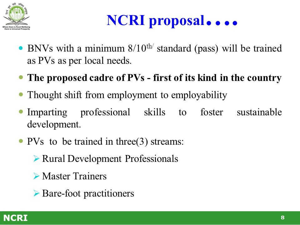 NCRI proposal for creation of Professional Volunteers within BNVs Six-weeks training in various professional streams.