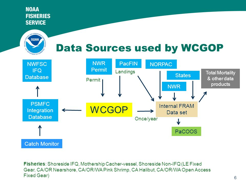 6 Data Sources used by WCGOP WCGOP PacFIN Total Mortality & other data products Internal FRAM Data set PaCOOS Fisheries: Shoreside IFQ, Mothership Cacher-vessel, Shoreside Non-IFQ (LE Fixed Gear, CA/OR Nearshore, CA/OR/WA Pink Shrimp, CA Halibut, CA/OR/WA Open Access Fixed Gear) NORPAC PSMFC Integration Database Catch Monitor NWFSC IFQ Database NWR Permit Landings Permit NWR Once/year States