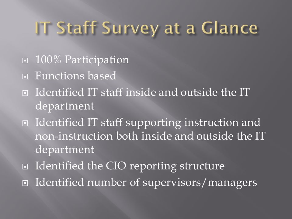  100% Participation  Functions based  Identified IT staff inside and outside the IT department  Identified IT staff supporting instruction and non-instruction both inside and outside the IT department  Identified the CIO reporting structure  Identified number of supervisors/managers