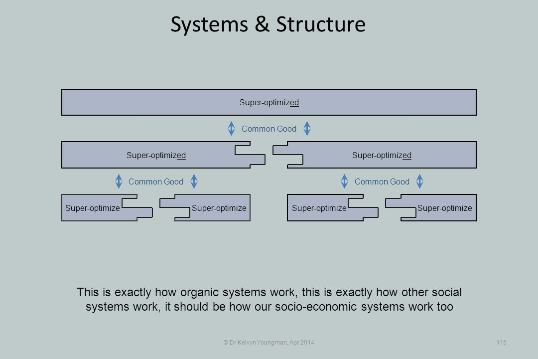 © Dr Kelvyn Youngman, Apr 2014115 Systems & Structure Super-optimize Super-optimized Super-optimize Super-optimized This is exactly how organic systems work, this is exactly how other social systems work, it should be how our socio-economic systems work too Common Good