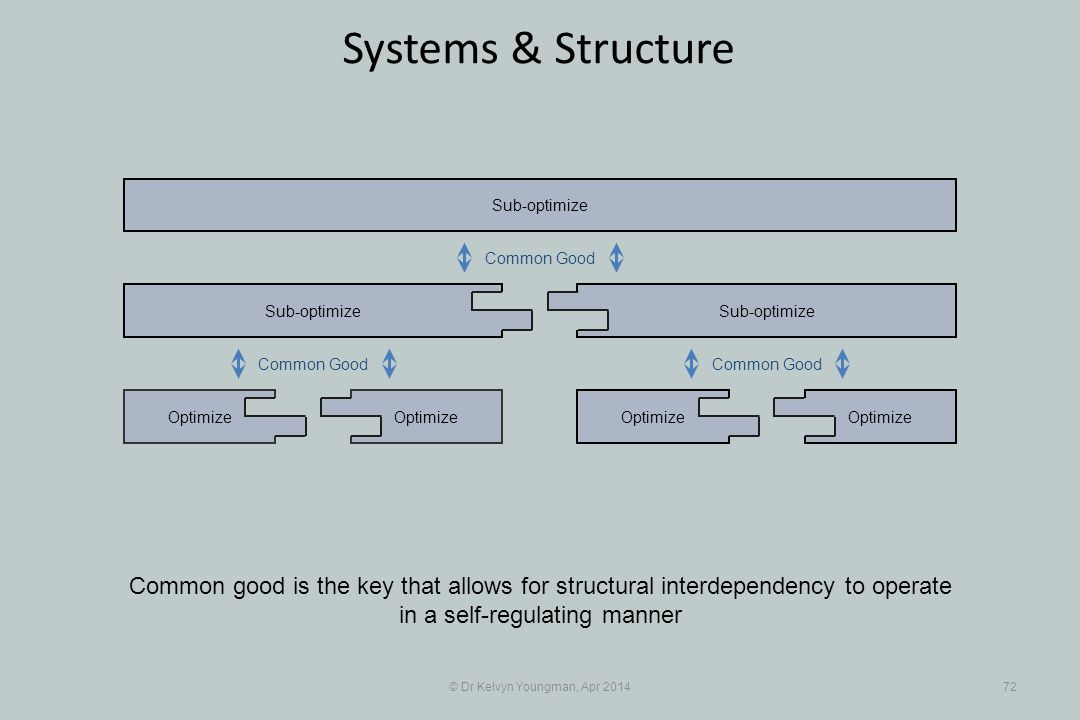© Dr Kelvyn Youngman, Apr 201472 Systems & Structure Optimize Sub-optimize Optimize Sub-optimize Common good is the key that allows for structural interdependency to operate in a self-regulating manner Common Good
