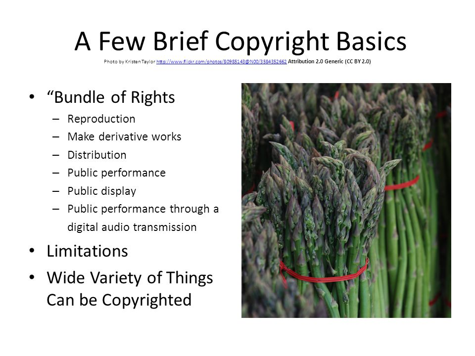 A Few Brief Copyright Basics Photo by Kristen Taylor http://www.flickr.com/photos/80985143@N00/3584352662 Attribution 2.0 Generic (CC BY 2.0)http://www.flickr.com/photos/80985143@N00/3584352662 Bundle of Rights – Reproduction – Make derivative works – Distribution – Public performance – Public display – Public performance through a digital audio transmission Limitations Wide Variety of Things Can be Copyrighted