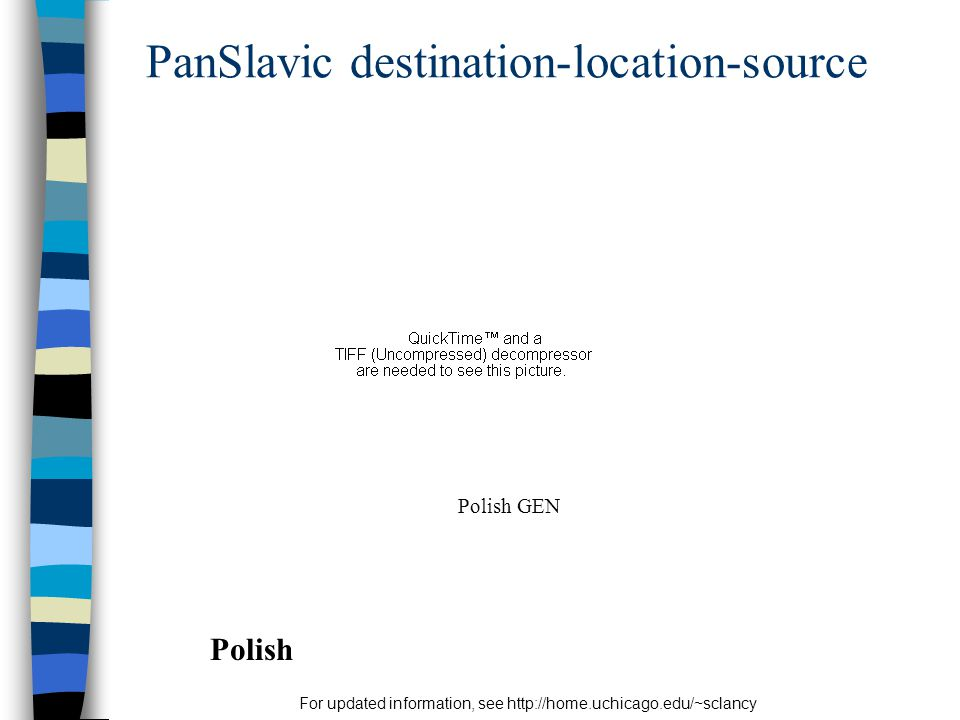 For updated information, see http://home.uchicago.edu/~sclancy PanSlavic destination-location-source Polish Polish GEN