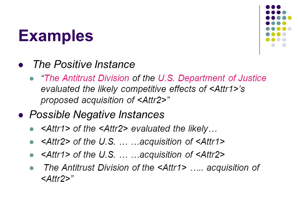 Examples The Positive Instance The Antitrust Division of the U.S.