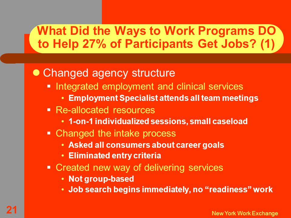 New York Work Exchange 21 What Did the Ways to Work Programs DO to Help 27% of Participants Get Jobs.