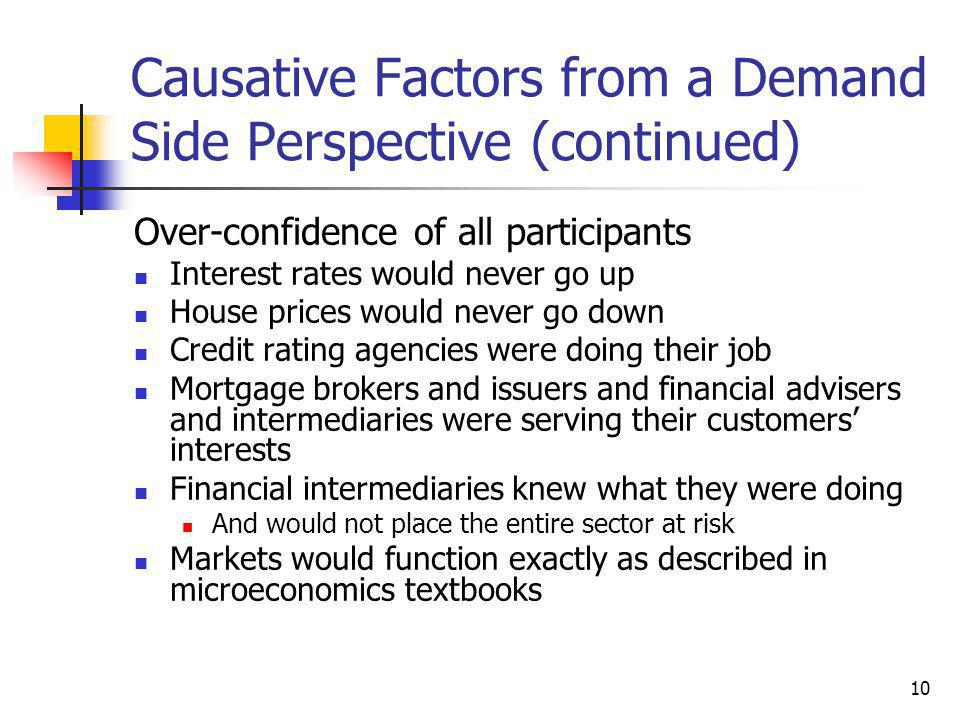 10 Causative Factors from a Demand Side Perspective (continued) Over-confidence of all participants Interest rates would never go up House prices would never go down Credit rating agencies were doing their job Mortgage brokers and issuers and financial advisers and intermediaries were serving their customers' interests Financial intermediaries knew what they were doing And would not place the entire sector at risk Markets would function exactly as described in microeconomics textbooks