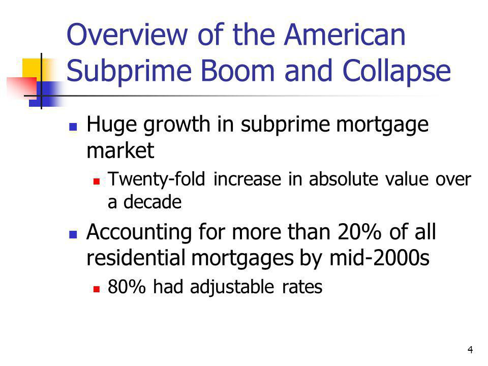 4 Overview of the American Subprime Boom and Collapse Huge growth in subprime mortgage market Twenty-fold increase in absolute value over a decade Accounting for more than 20% of all residential mortgages by mid-2000s 80% had adjustable rates