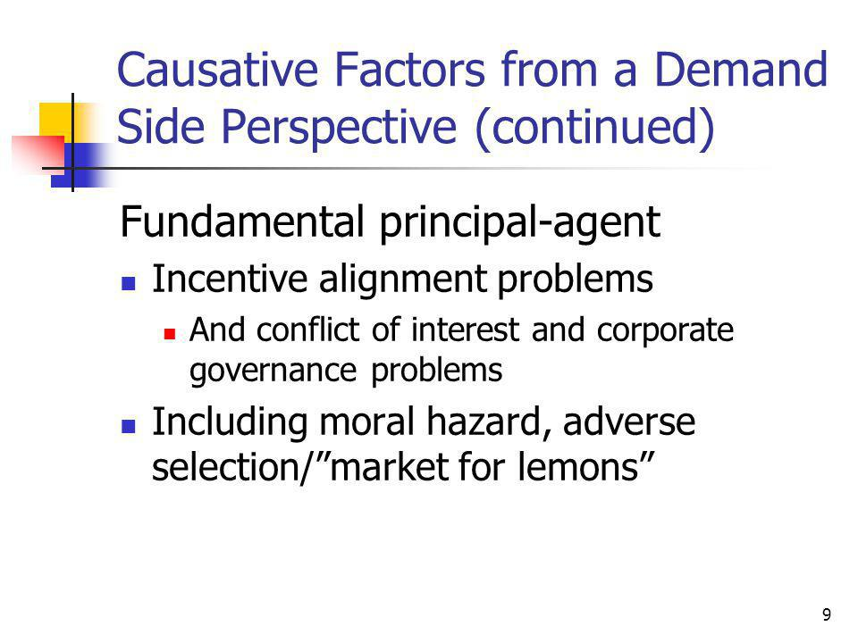 9 Causative Factors from a Demand Side Perspective (continued) Fundamental principal-agent Incentive alignment problems And conflict of interest and corporate governance problems Including moral hazard, adverse selection/ market for lemons