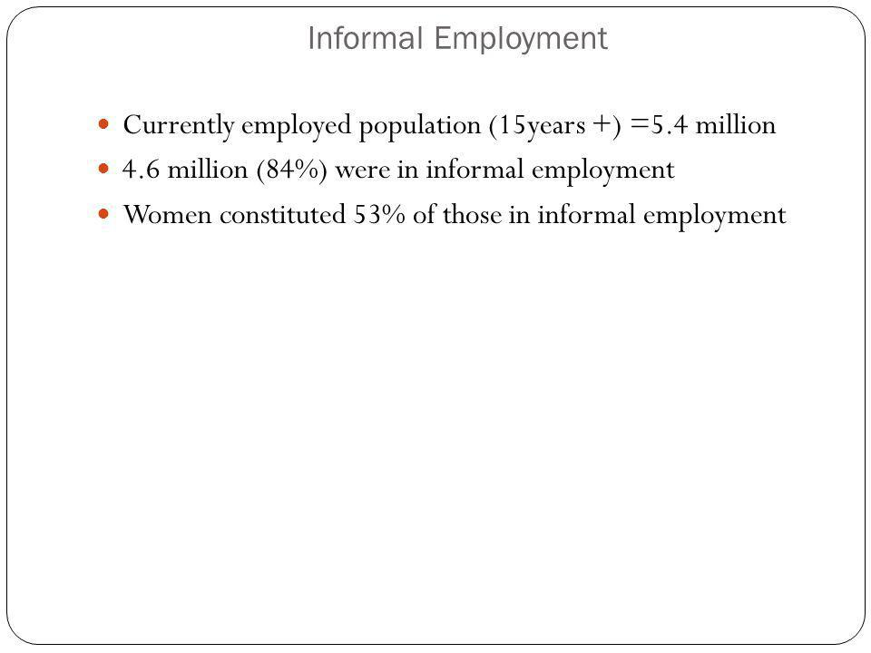 Informal Employment Currently employed population (15years +) =5.4 million 4.6 million (84%) were in informal employment Women constituted 53% of those in informal employment