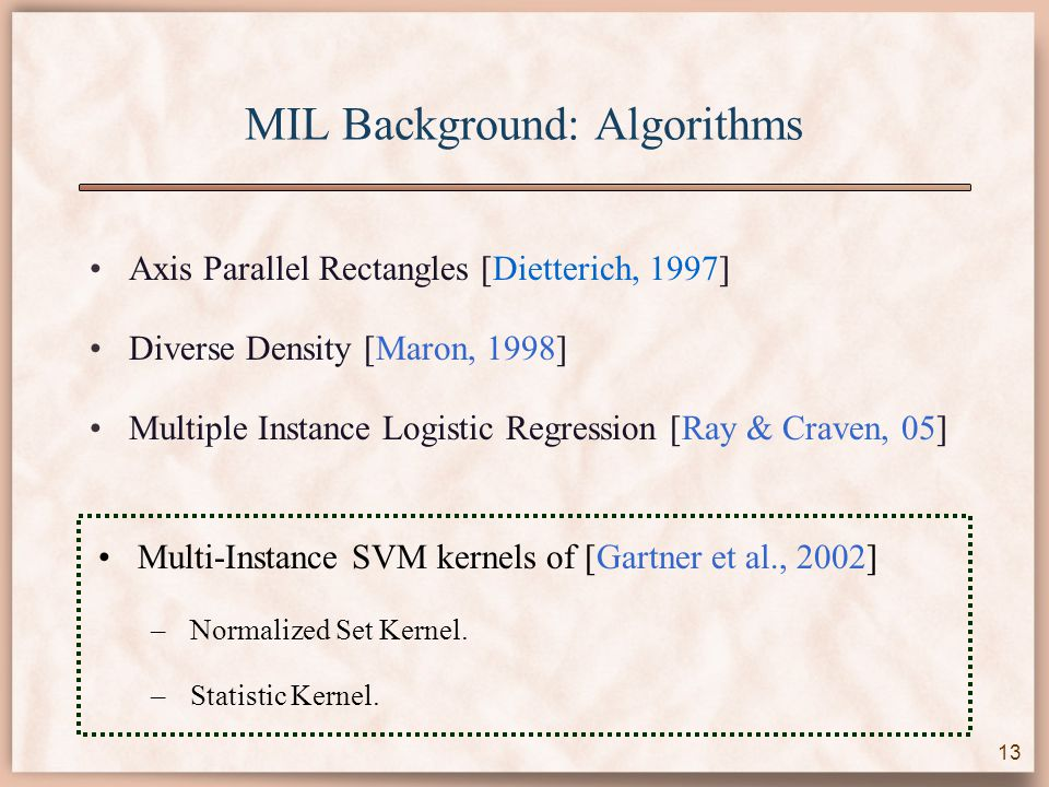 MIL Background: Algorithms Axis Parallel Rectangles [Dietterich, 1997] Diverse Density [Maron, 1998] Multiple Instance Logistic Regression [Ray & Craven, 05] Multi-Instance SVM kernels of [Gartner et al., 2002] –Normalized Set Kernel.