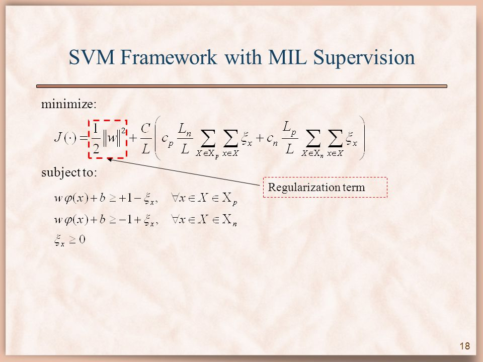 SVM Framework with MIL Supervision minimize: subject to: Regularization term 18