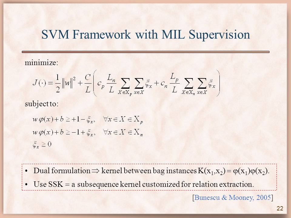 SVM Framework with MIL Supervision minimize: subject to: Dual formulation  kernel between bag instances K(x 1,x 2 )   (x 1 )  (x 2 ).