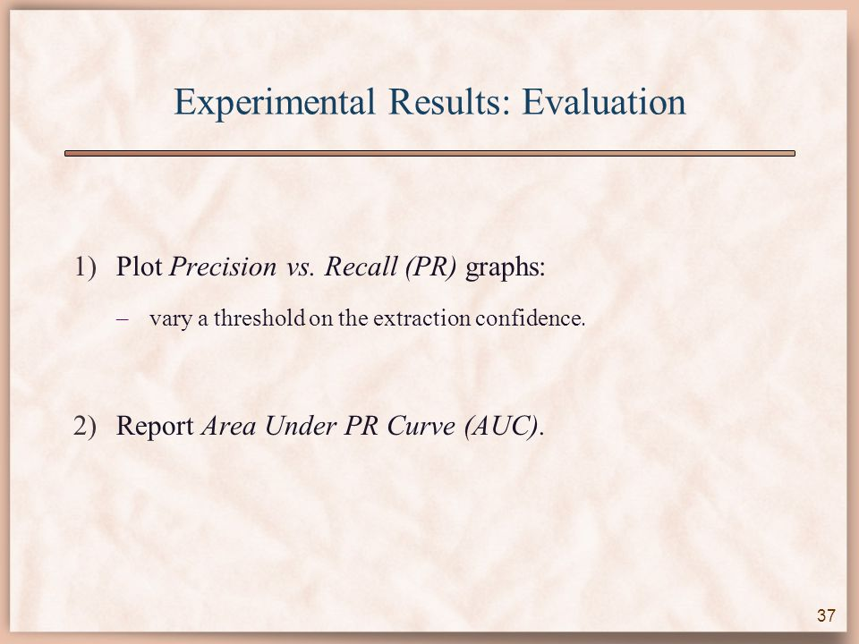 Experimental Results: Evaluation 1)Plot Precision vs.