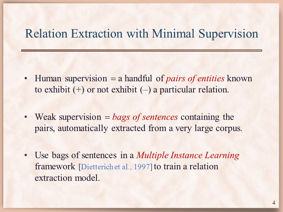 Relation Extraction with Minimal Supervision Human supervision  a handful of pairs of entities known to exhibit (+) or not exhibit (–) a particular relation.