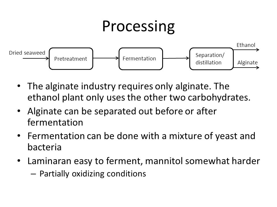 Processing The alginate industry requires only alginate.
