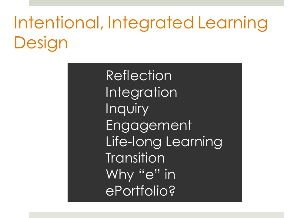 Reflection Integration Inquiry Engagement Life-long Learning Transition Why e in ePortfolio.