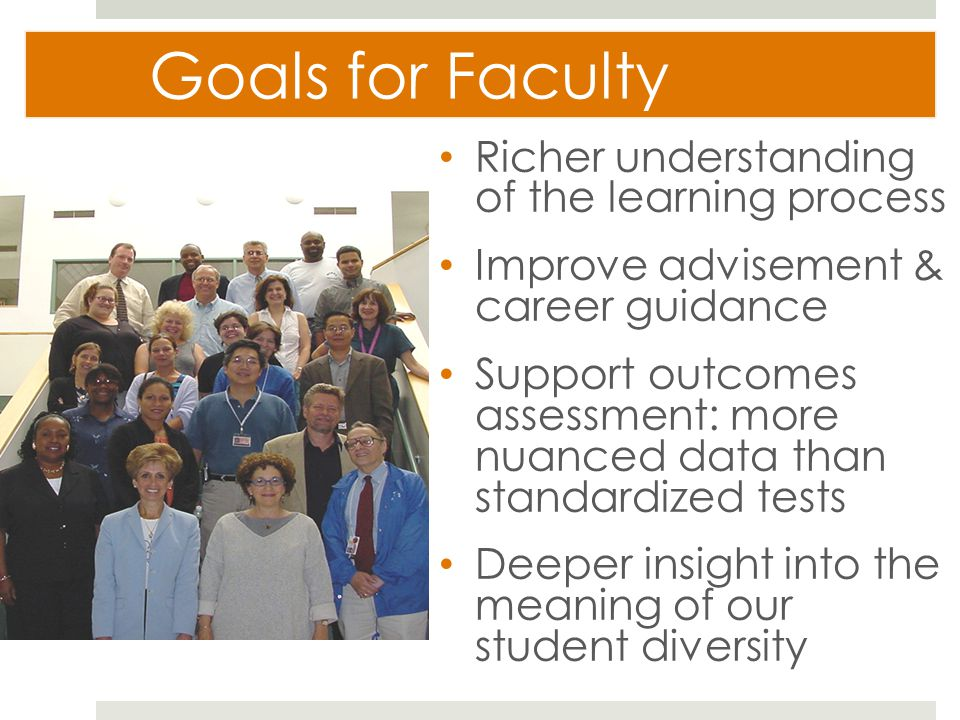 Goals for Faculty Richer understanding of the learning process Improve advisement & career guidance Support outcomes assessment: more nuanced data than standardized tests Deeper insight into the meaning of our student diversity