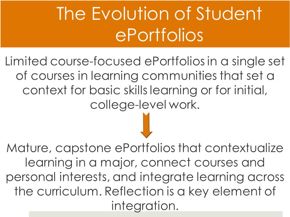 The Evolution of Student ePortfolios Mature, capstone ePortfolios that contextualize learning in a major, connect courses and personal interests, and integrate learning across the curriculum.