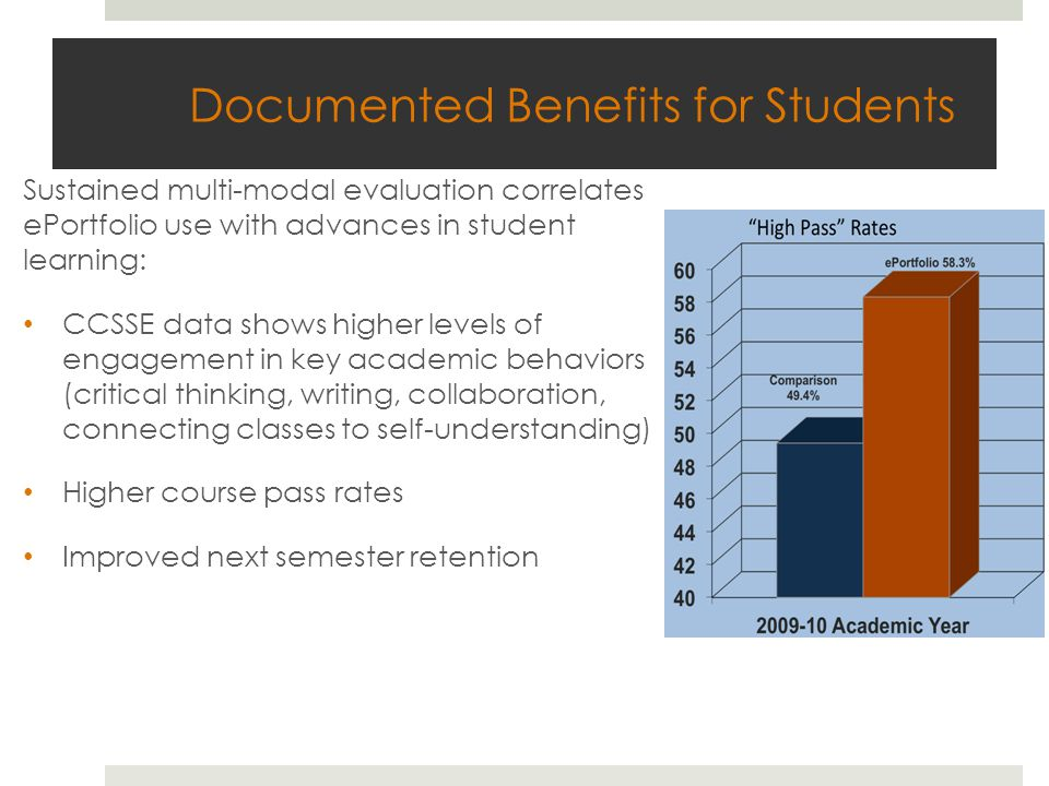 Documented Benefits for Students Sustained multi-modal evaluation correlates ePortfolio use with advances in student learning: CCSSE data shows higher levels of engagement in key academic behaviors (critical thinking, writing, collaboration, connecting classes to self-understanding) Higher course pass rates Improved next semester retention